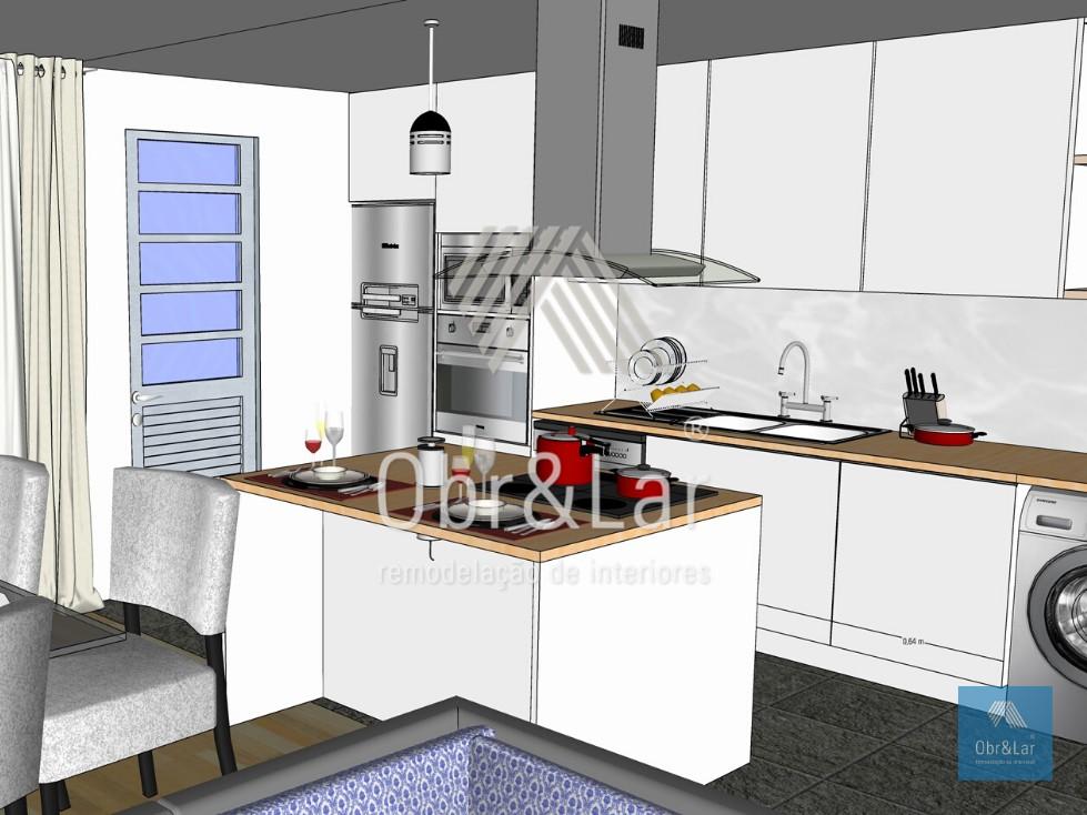 Remodelação de Sala e Cozinha – Projeto 3D